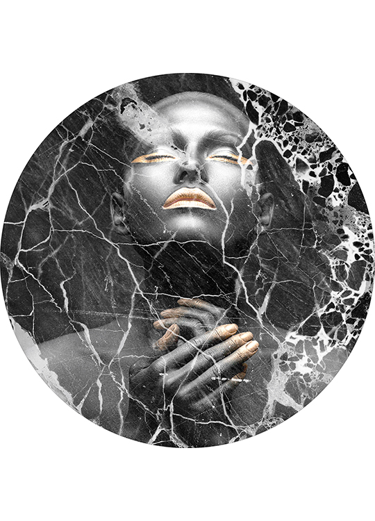 BLACK MARBLE LADY CIRCLE ART, artroom.no