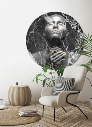 BLACK MARBLE LADY CIRCLE ART