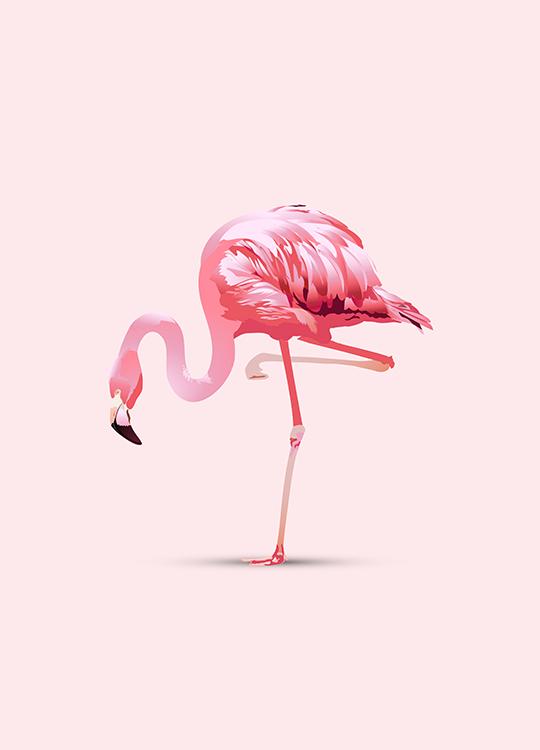 flamingo in pink 1 poster, artroom.no