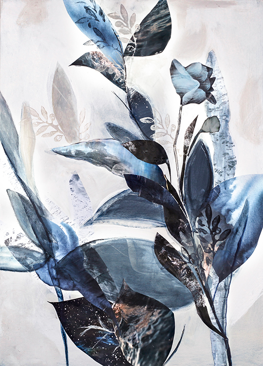 blue leaves poster, artroom.no