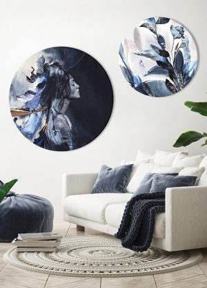 BLUE LEAVES CIRCLE ART
