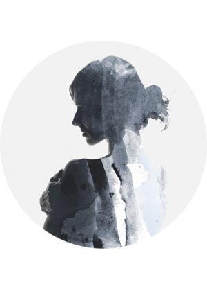 WOMAN IN BLUE CIRCLE ART