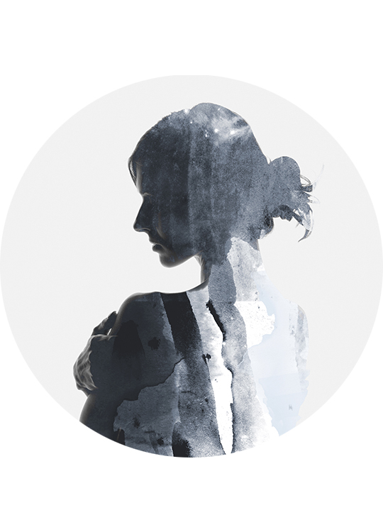 WOMAN IN BLUE CIRCLE ART, artroom.no